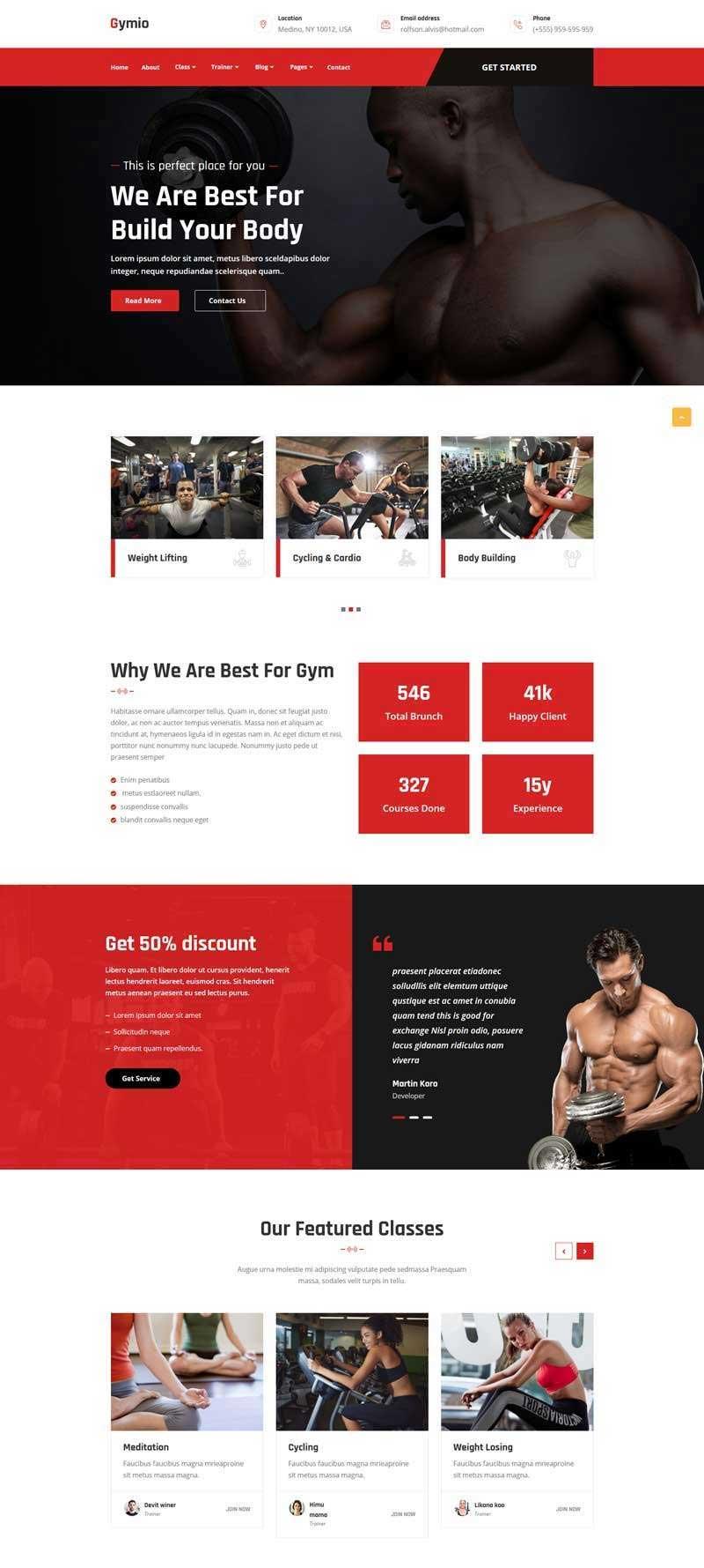 红色大气宽屏Bootstrap4健身房响应式网站模板