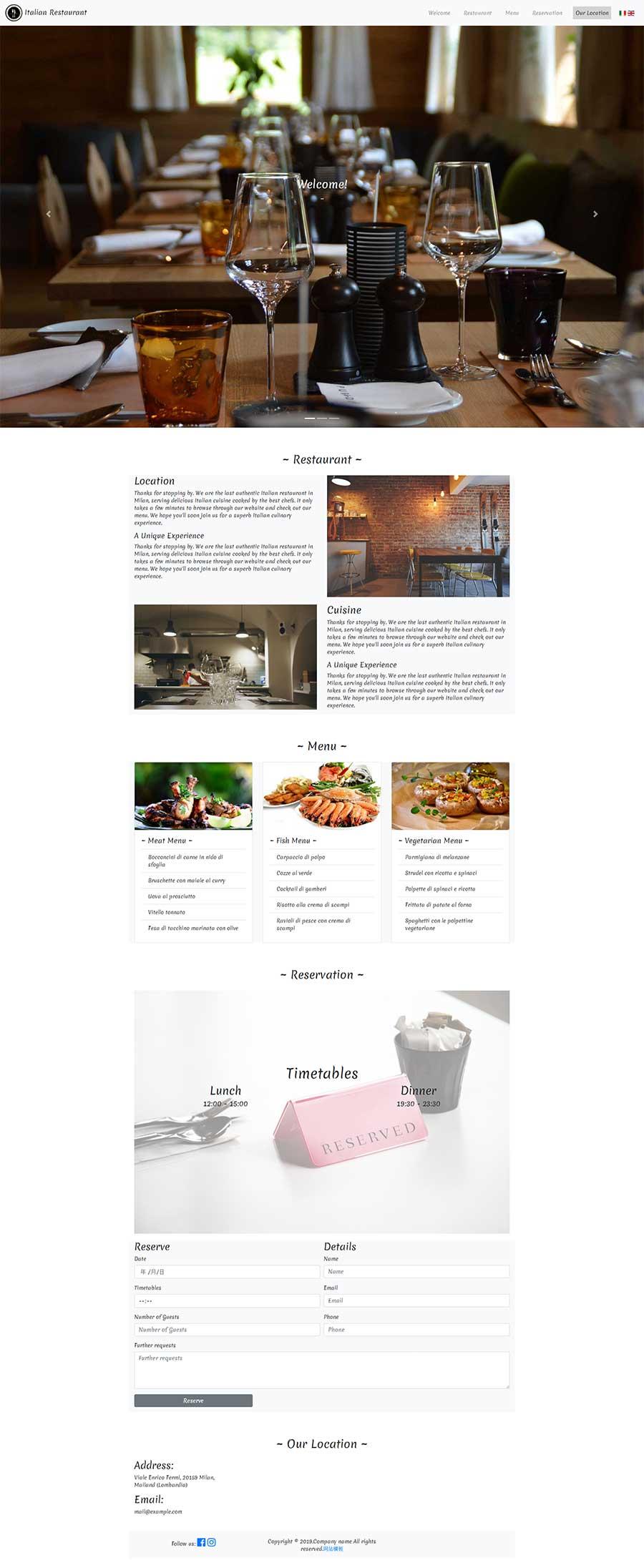 高端简洁的html5单页响应式餐饮美食网站模板