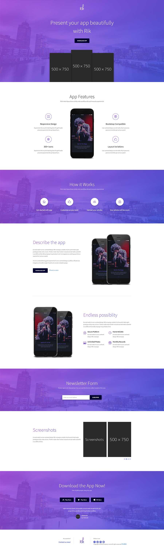 紫色大气Bootstrap响应式app应用展示下载单页模板