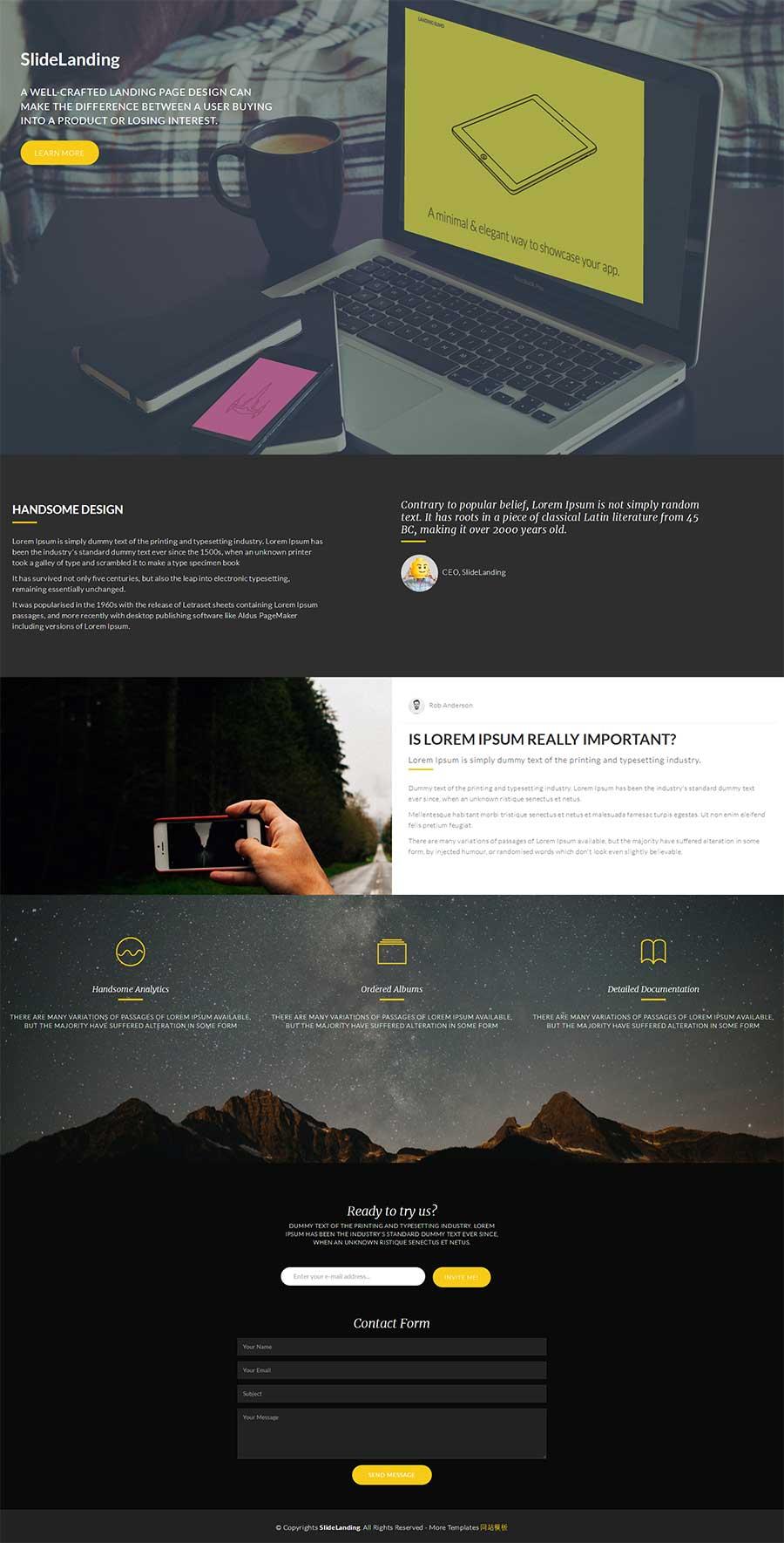 html5宽屏大气响应式单页网络设计企业网站模板