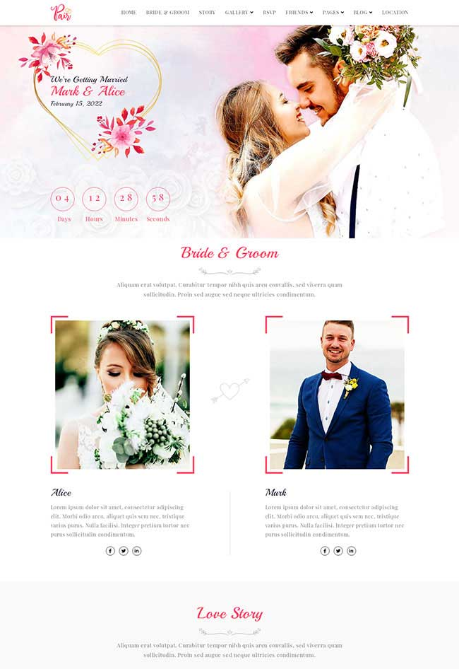 Bootstrap响应式婚纱摄影婚礼策划公司网站模板