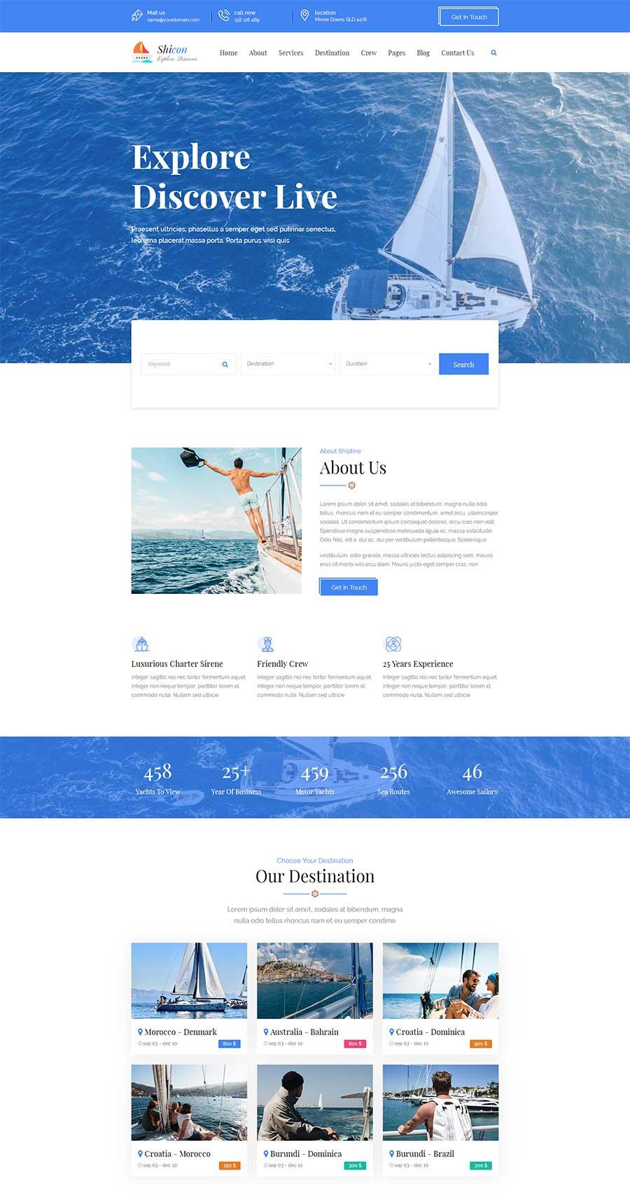 蓝色宽屏大气响应式船舶租赁服务公司网站模板