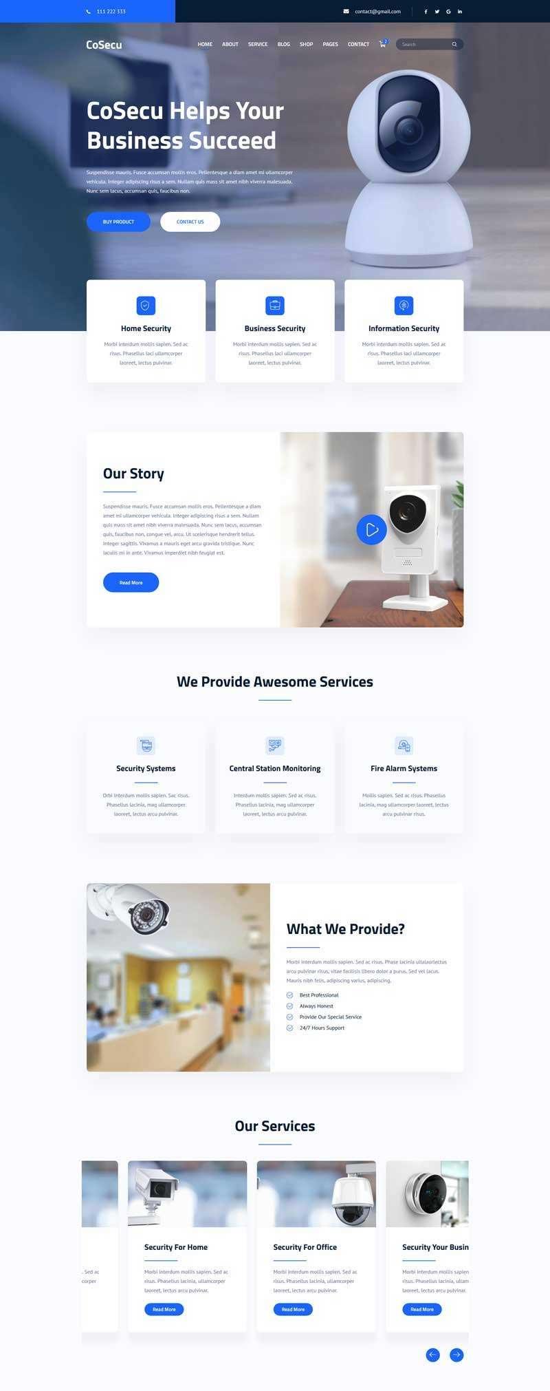 蓝色宽屏大气html5响应式智能监控设备企业网站模板