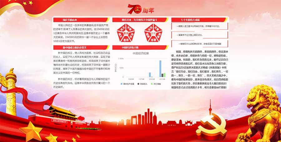红色喜庆的祖国70周年国庆介绍专题网页模板