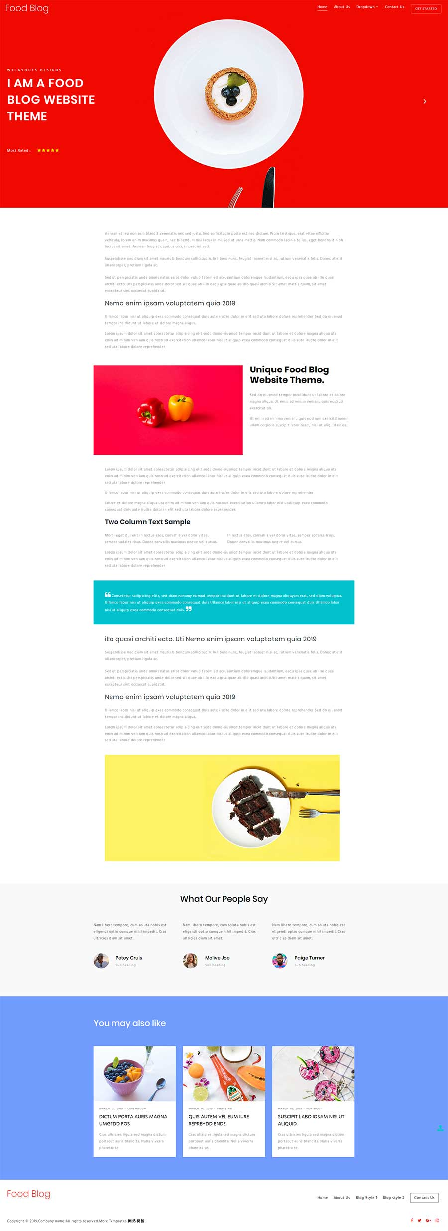 html5响应式美食西点主题自媒体工作室博客模板
