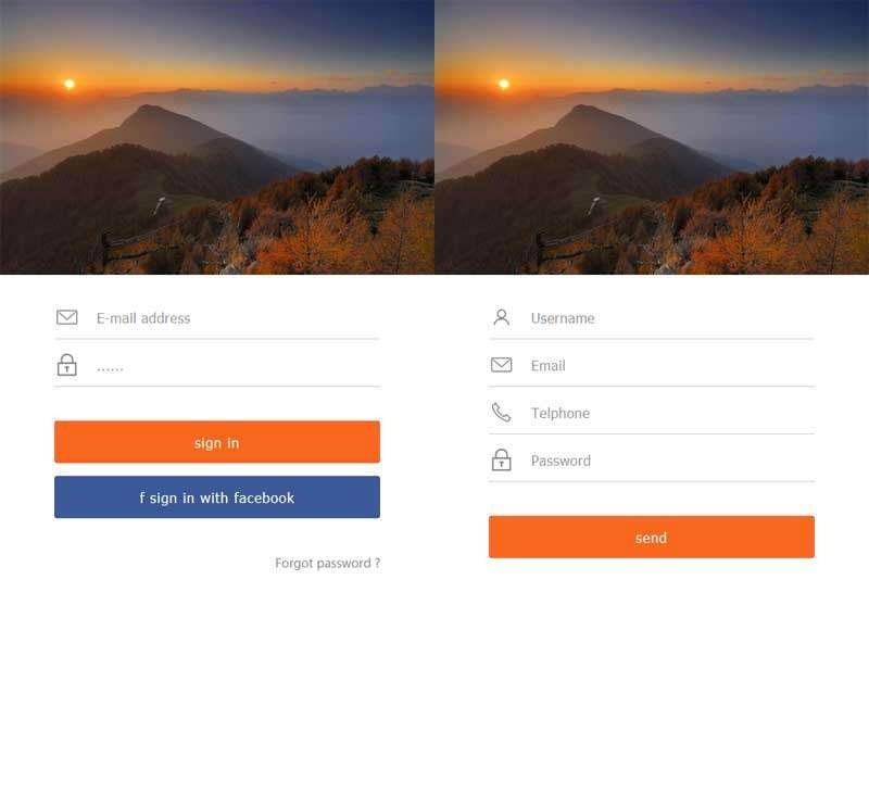简洁的手机移动端登录和注册页面html模板