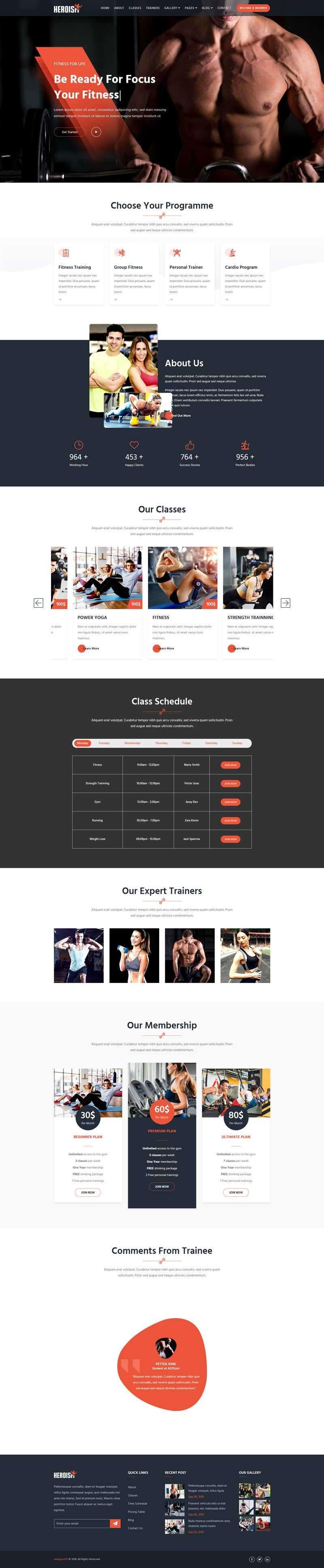 Bootstrap4宽屏大气健身俱乐部响应式网站模板