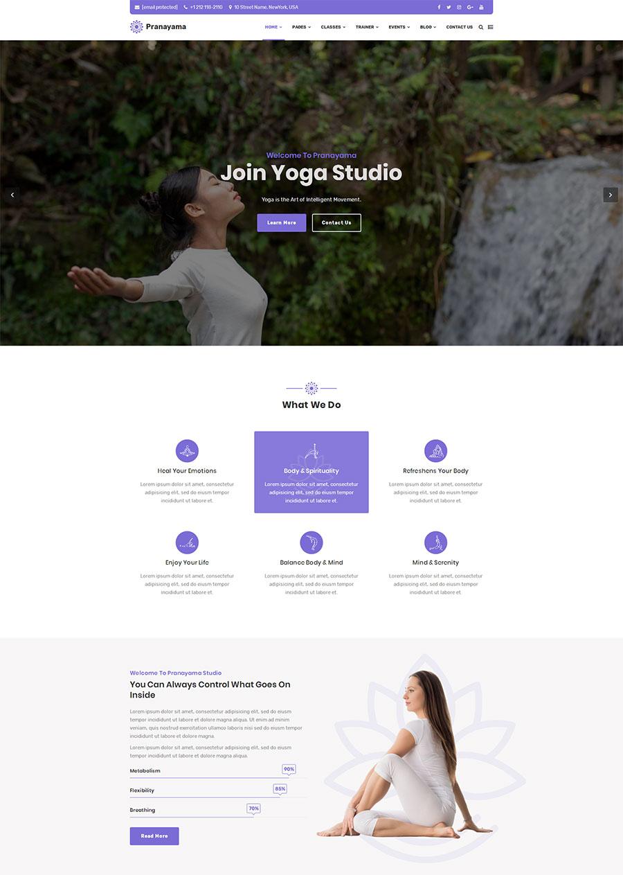 紫色清新大气html5响应式瑜伽课程培训网站模板