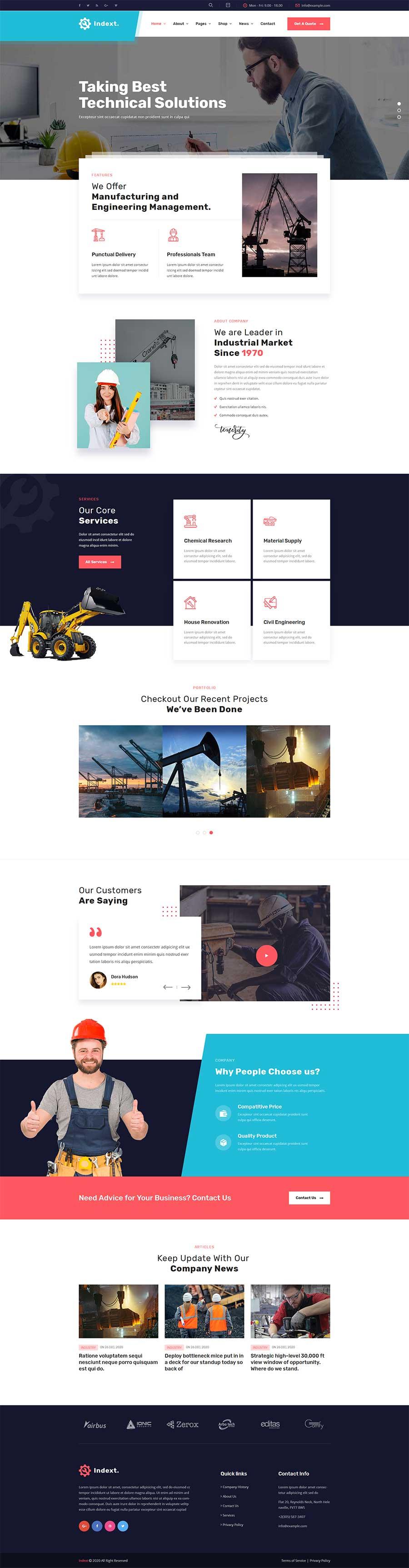 大气漂亮的Bootstrap响应式机械工业生产公司网站模板