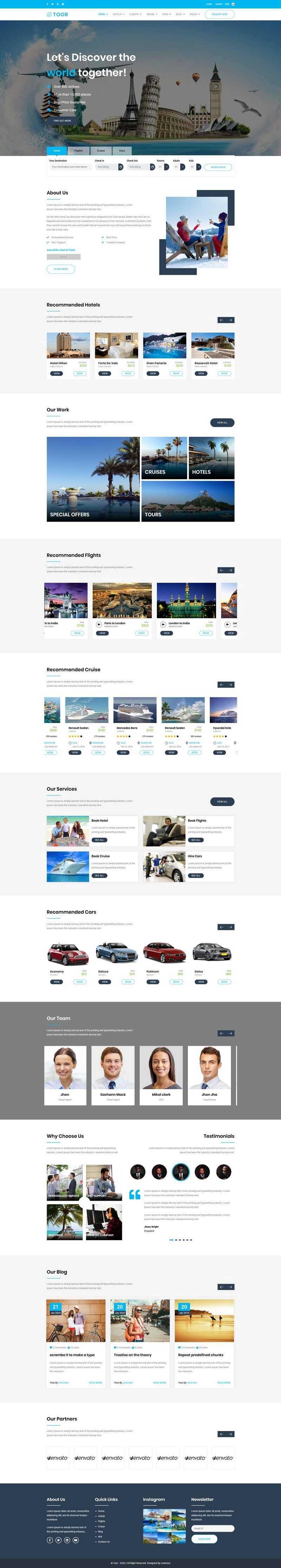 Bootstrap大气蓝色风格一站式旅游服务公司网站模板
