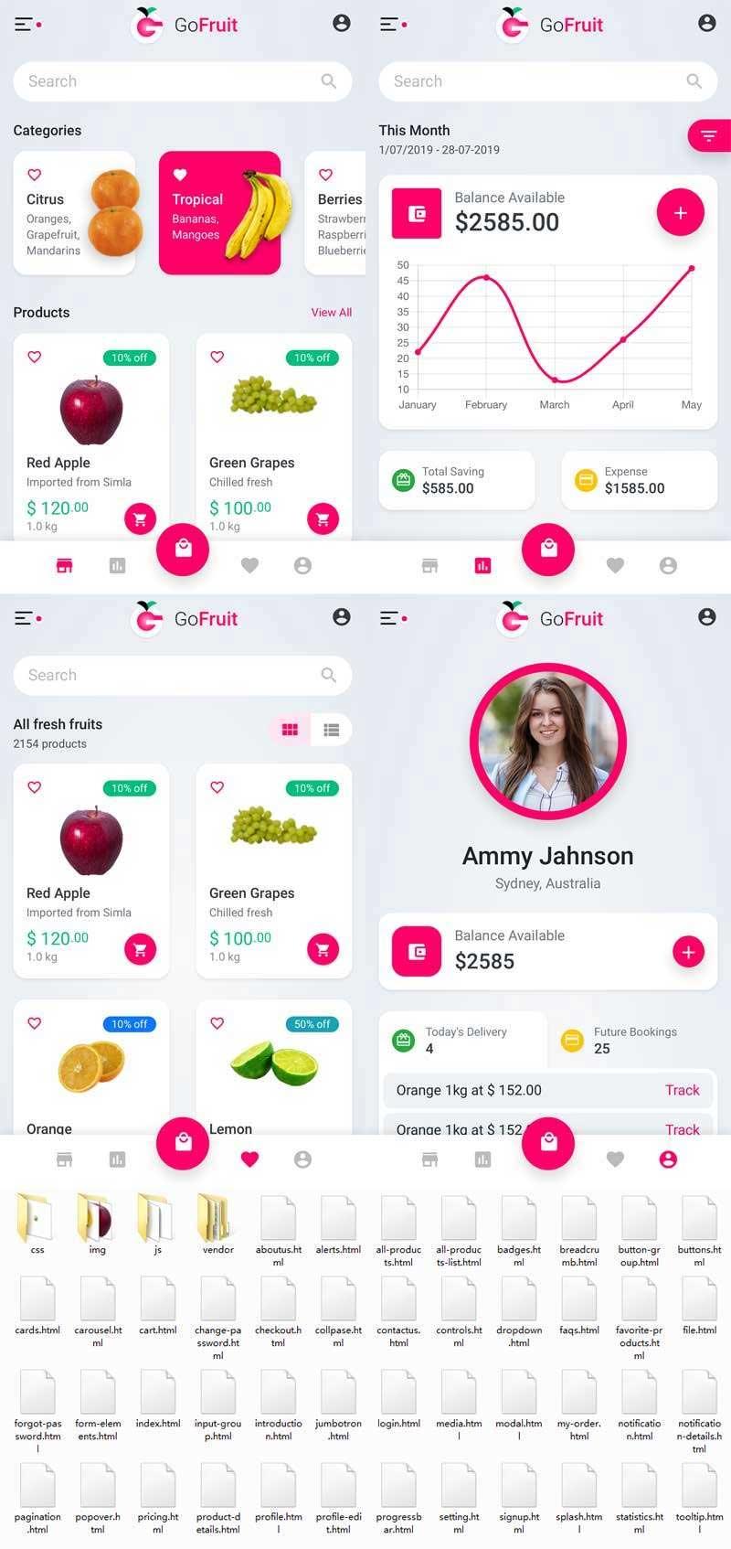 Bootstrap+framework框架制作的水果外卖预订商城app模板