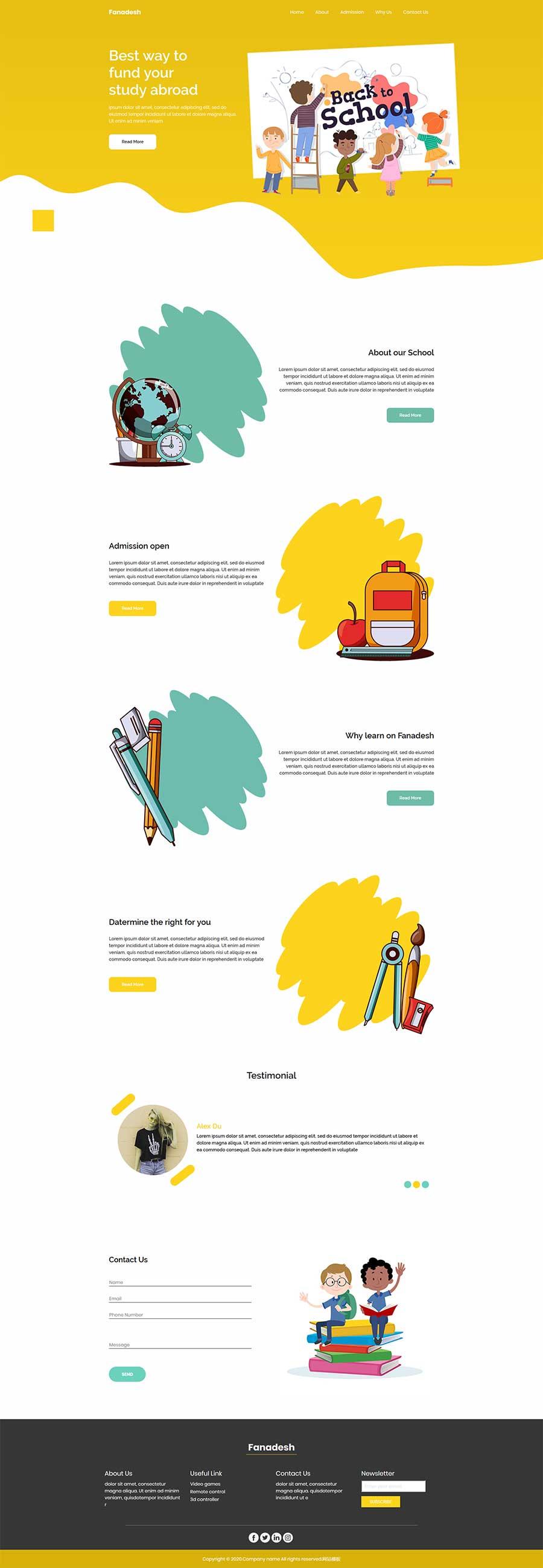 html5响应式儿童画画美术培训班网站模板