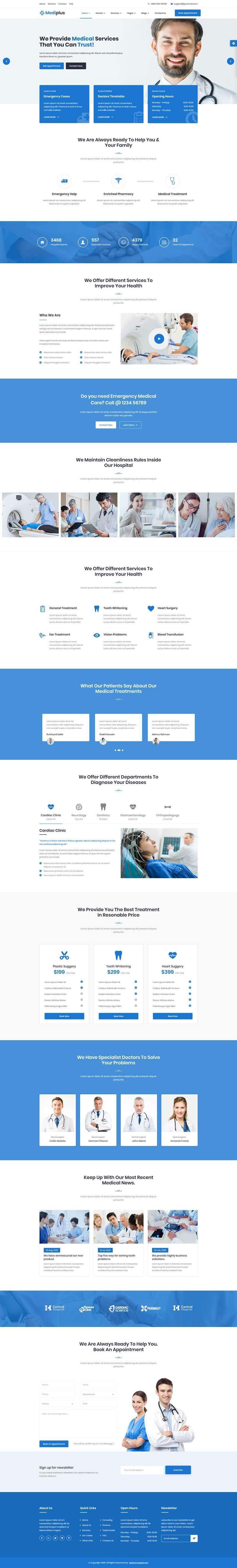 Bootstrap4蓝色响应式牙科口腔医院网站模板