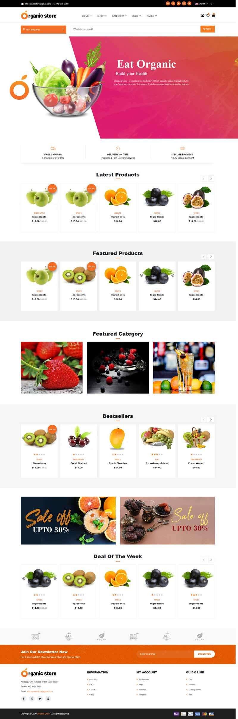 html5橙色大气响应式有机水果外卖商城网站模板
