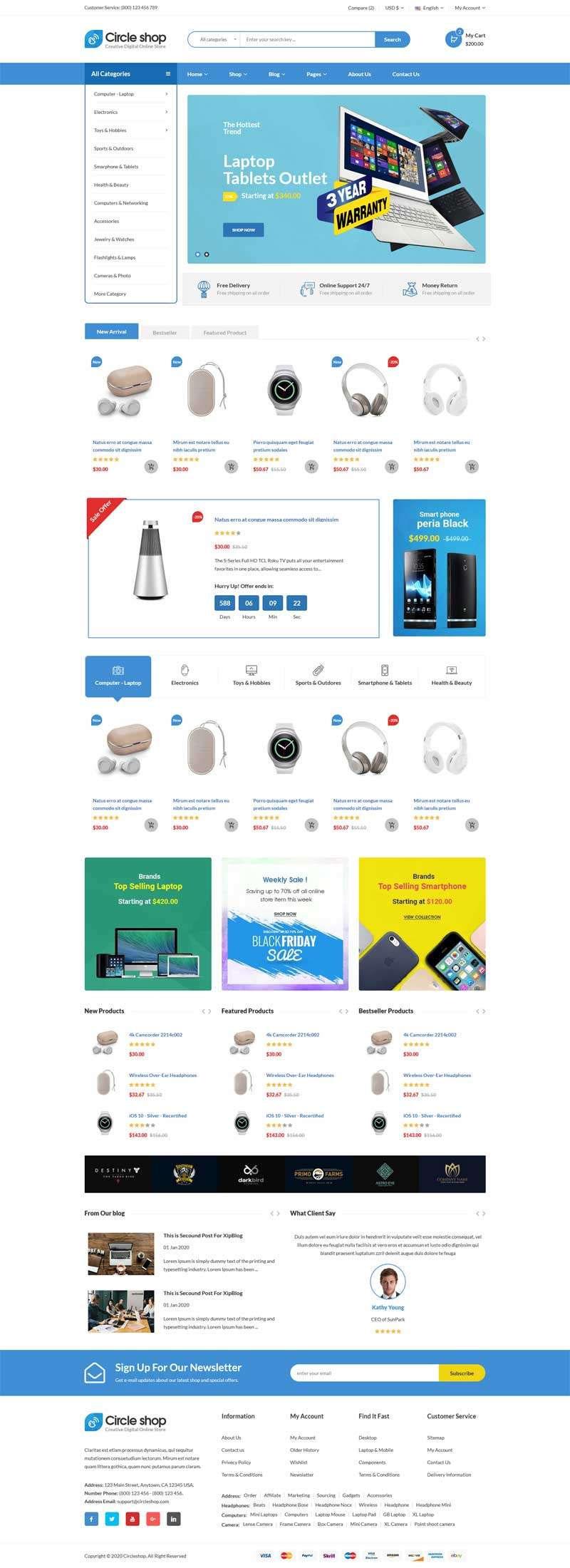 蓝色html5响应式电子数码产品销售商城网站模板