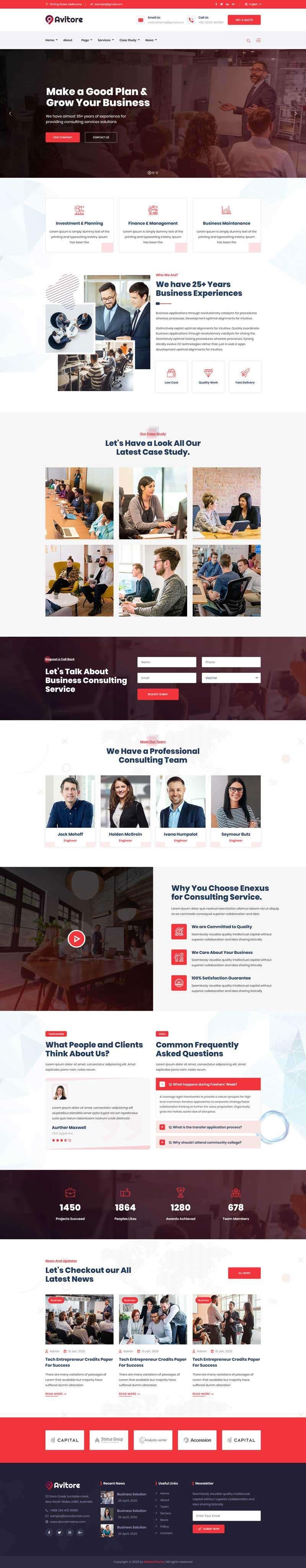 红色宽屏大气html5响应式金融业务商业咨询公司网站模板