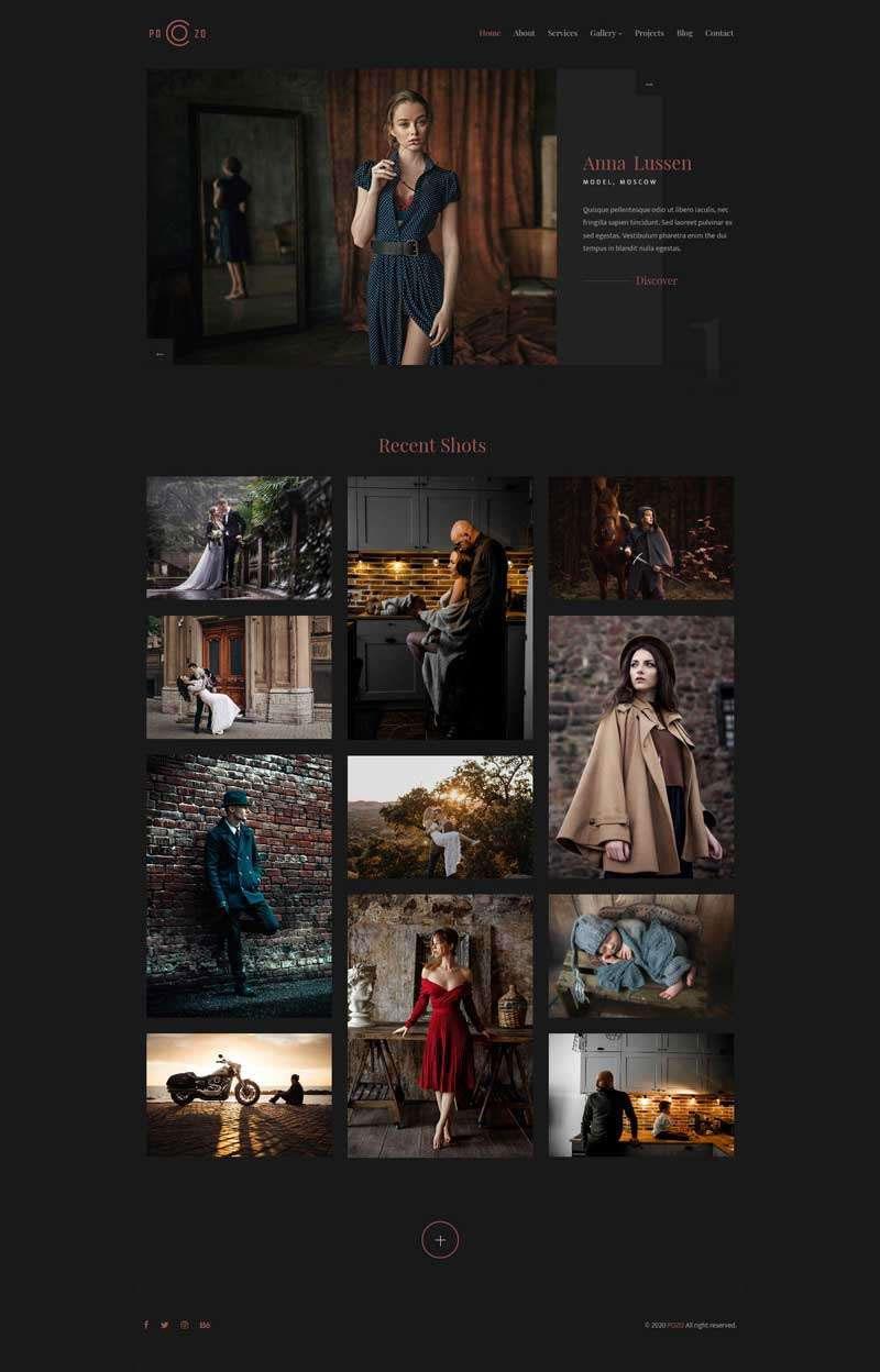 黑色html5响应式个人摄影作品集展示网站模板