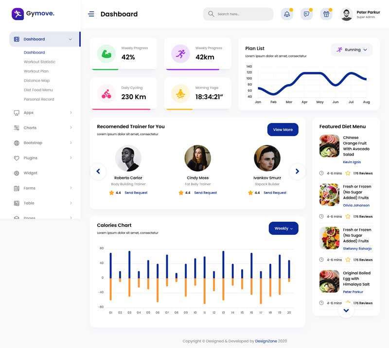 Bootstrap响应式运动健身app后台管理系统模板