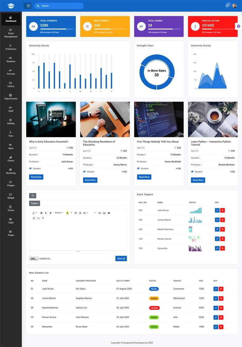 Bootstrap多用途教育行业课程管理系统后台模板