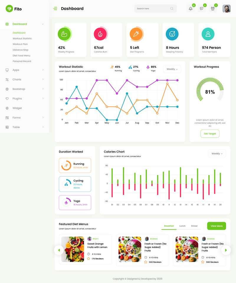 Bootstrap4响应式瑜伽健身运动app后台管理系统模板