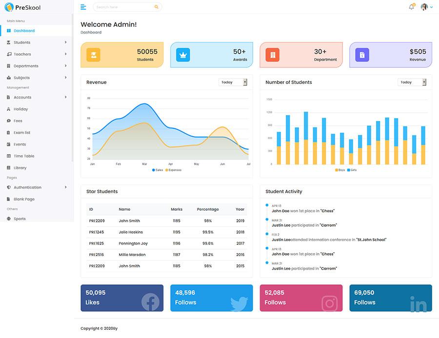 Bootstrap4响应式学校教育课程管理系统后台框架模板
