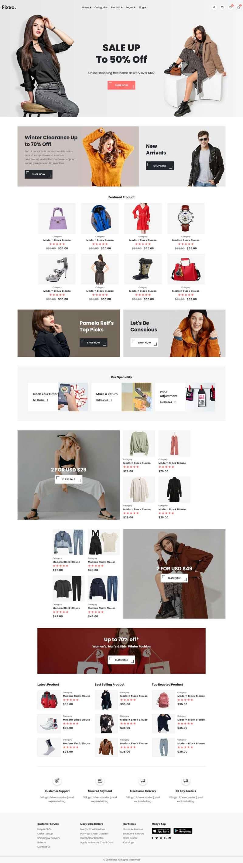 html5响应式时装服装配饰销售商城网站模板