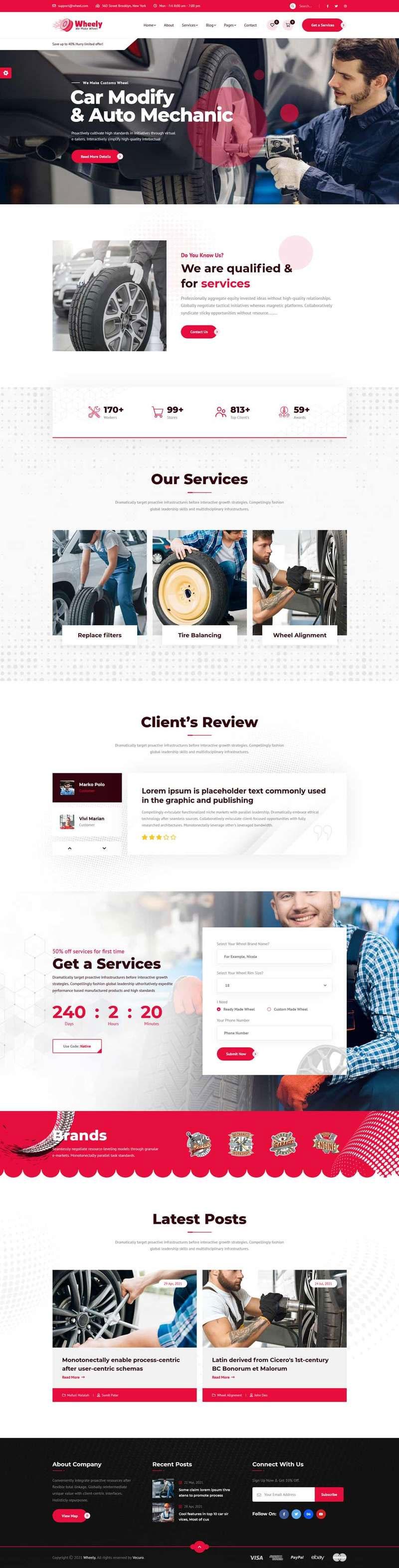 html5红色大气品牌汽车轮胎和维修公司网站模板