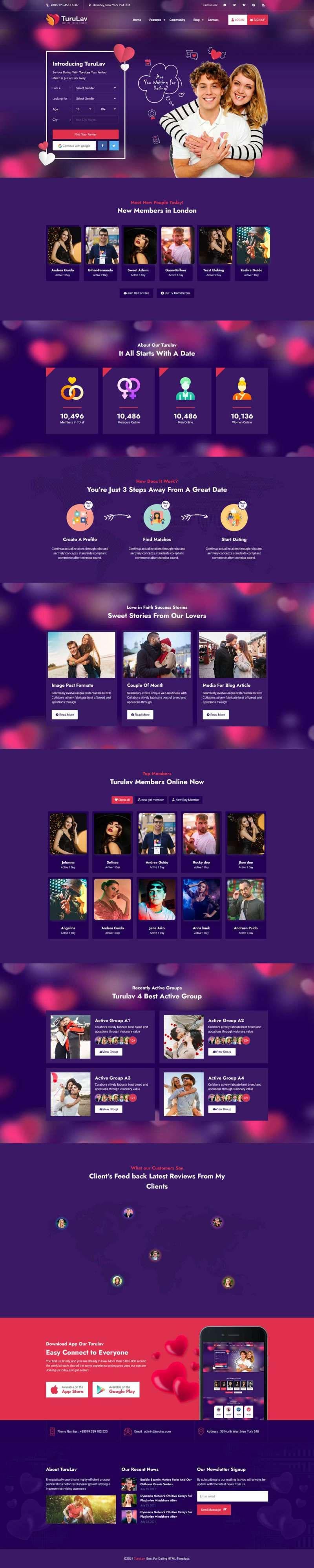 Bootstrap紫色大气响应式交友社区社交平台网站模板