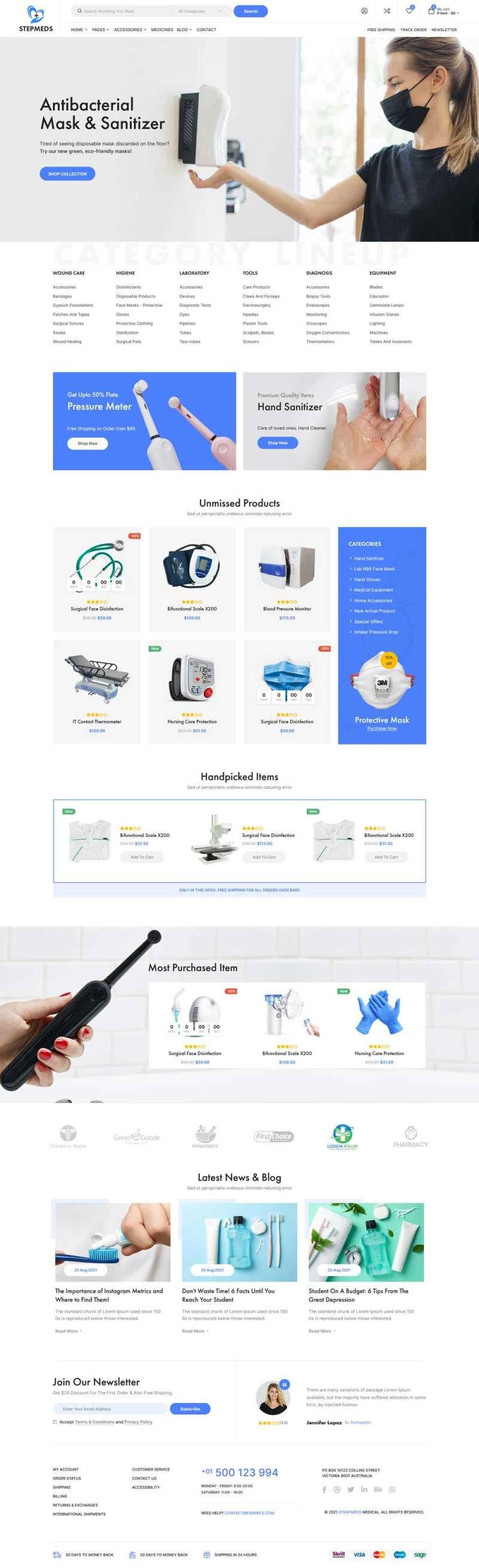 html5蓝色响应式医疗设备电子商务商城模板