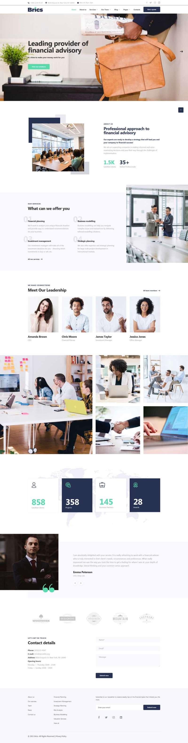 Bootstrap响应式财务顾问商务服务企业网站模板
