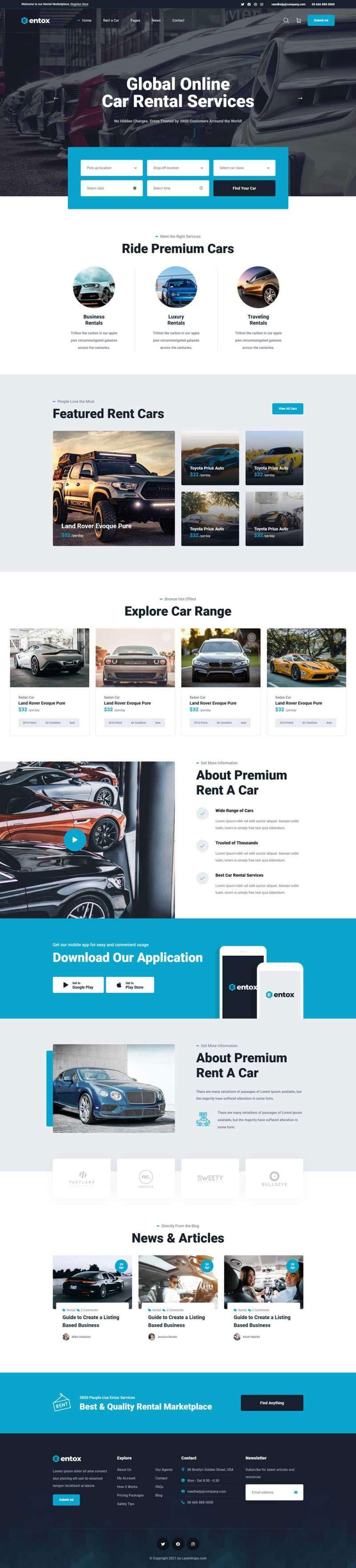 蓝色大气html5响应式汽车租赁服务公司网站模板