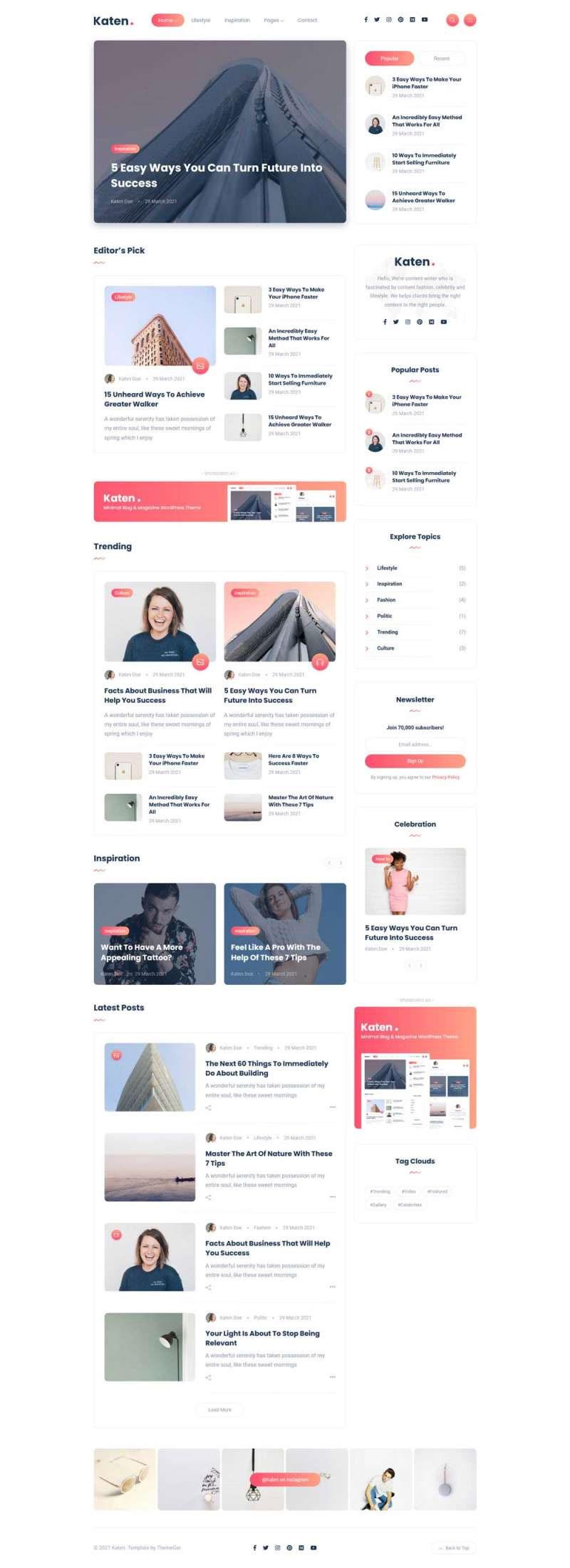 html5简洁响应式图文博客杂志网站模板