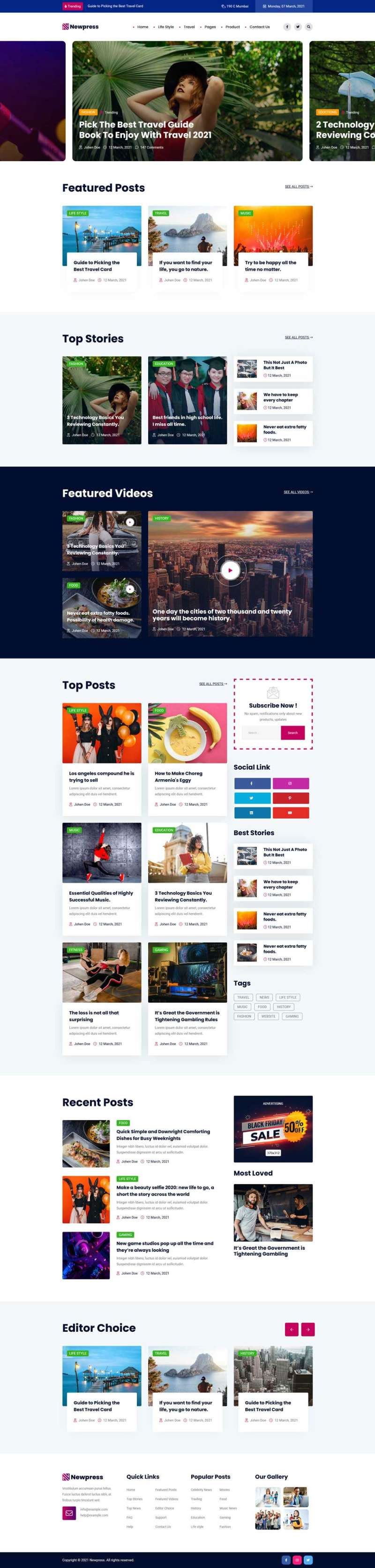 html5响应式时尚综合新闻杂志网站模板