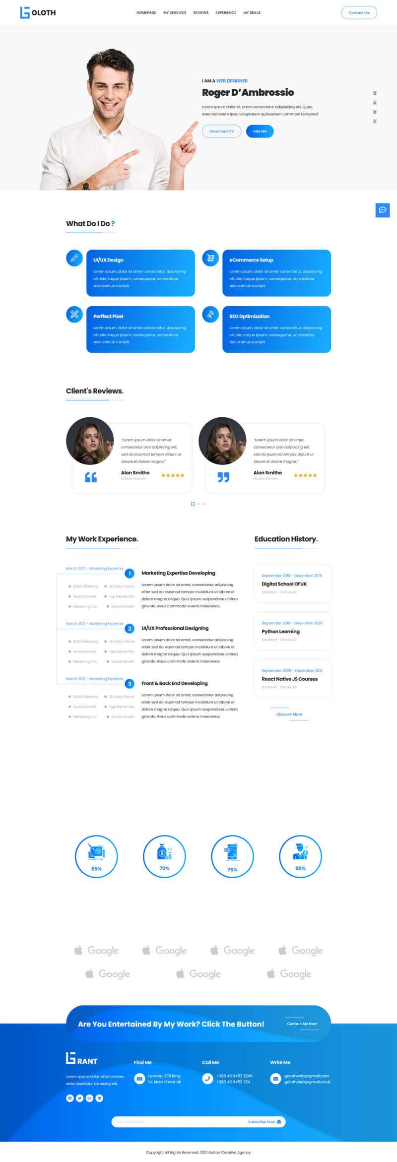 bootstrap5响应式多功能个人简历展示单页模板