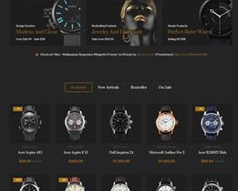 PHP黑色炫酷男士手表在线购物外贸商城网站源码 商城网站模板带数据