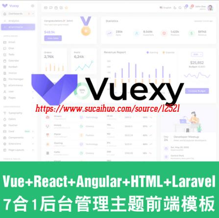 Vue+React+Angular2021新后台管理主题前端模板源码Vuexy