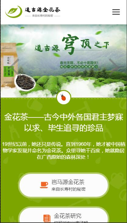 金花茶食品中英文响应式微官网