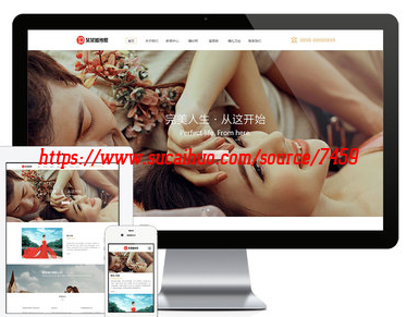 唯美清新婚纱拍摄类摄影企业展示类网站模板带手机版 响应式摄影企业通用模板