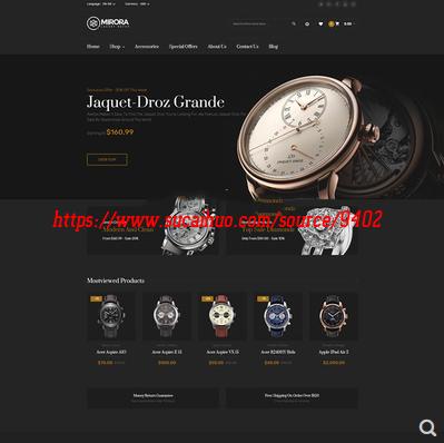中英文双语版黑色炫酷手表外贸商城程序源码 带后台带数据